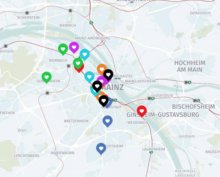 Standortkarte der Litfaßsäulen in Mainz