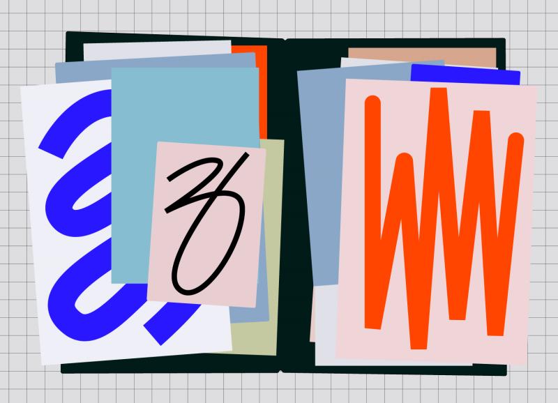 Vereinfachte Illustration einer aufgeschalgenen Mappe auf grau-kariertem Grund. Papiere in blau, rot, und rosa sind in lockeren Stapeln zu sehen.