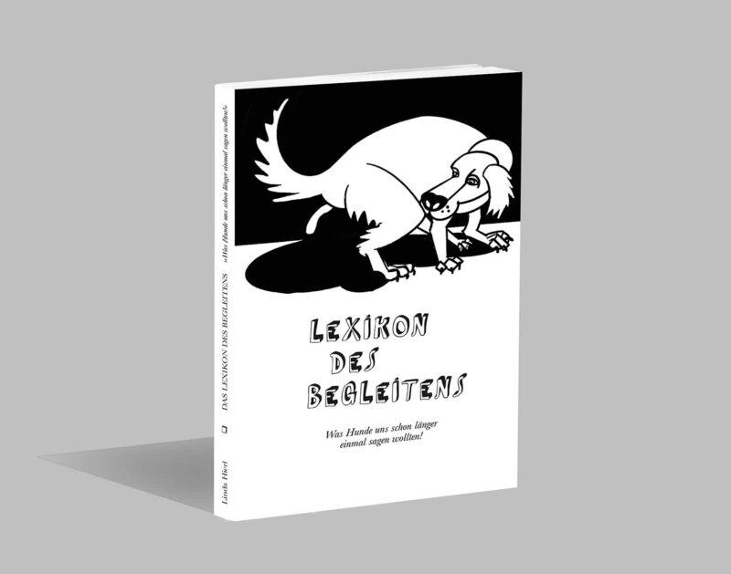Mock-Up eines Buches mit Hundeillustration, Titel