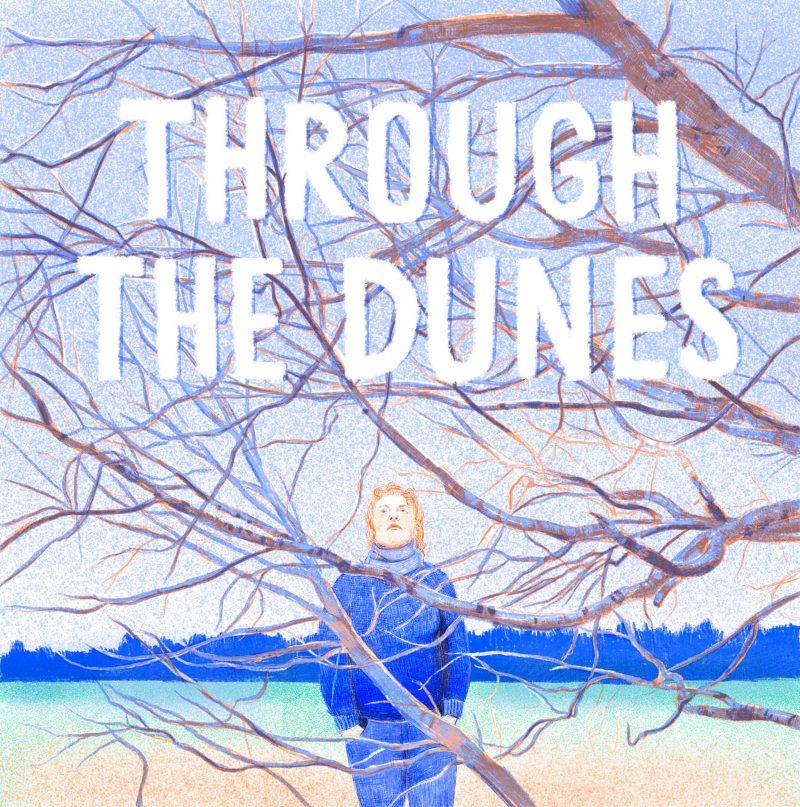 Illustration einer Frau vor Ästen eines Baumes, darüber Schriftzug
