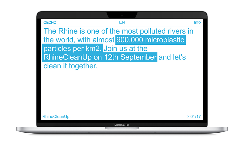 Laptop mit Webseite. Hellblaue, serifenlose Schrift auf weißem Grund. Navigation: OECHO / EN / Info, Fließtext: The Rhinne is one of the most polluted rivers in the world, with almost 900,000 microplastic particles per km2. Join us at the RhineCleanUp on 12th September and let's clean it together.